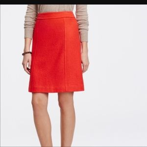 Ann Taylor Wool Skirt Red Orange Lined A Line 2
